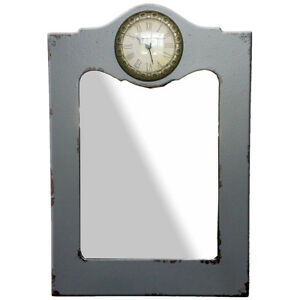 Rustic Grey Wall Mirror/Clock - CLEARANCE