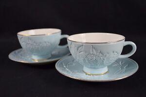 SET OF TWO FINE BONE CHINA TEA CUP&SAUCER 220ML(BLUE)