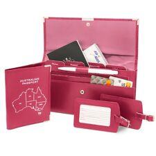 Leather Travel Wallet Organiser Document Australian Set Hot Pink - Brand New