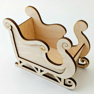 Christmas Decoration - Layered Santas Sleigh - Wooden Craft Table Sweet Holder