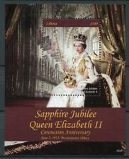 Liberia 2018 MNH Queen Elizabeth II Coronation Sapphire 1v S/S Royalty Stamps