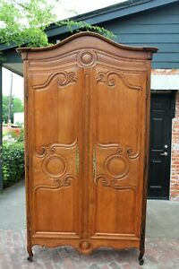 French Antique Oak Armoire / 3 Shelf Cabinet 18th Century | Bedroom Furniture