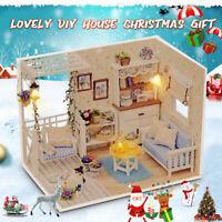 DIY Wooden LED Dollhouse Handcraft 3D Wooden Toy Miniature Kit Lights Xmsa Gift