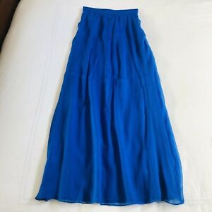 The Cue Cherqu Blue Silk Chiffon Lined Maxi Skirt Small NWT