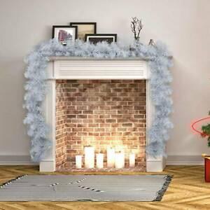 9ft Christmas Garland Extra Thick White Garland w/ LED Lights Fireplace Decor UK