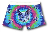 Men's Small 28-30 Tie Dye Hypnotic Kitty Cat Boxer Briefs Underwear Novelty Gift
