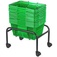 Green Plastic Shopping Basket Pack of 12 Supermarket Durable Lightweight Pro