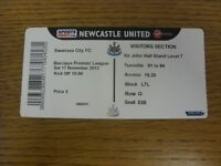 17/11/2012 Ticket: Newcastle United v Swansea City  (complete). Bobfrankandelvis