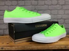 CONVERSE MENS UK 8 EU 41.5 NEON GREEN WHITE CHUCK TAYLOR II OX TRAINERS
