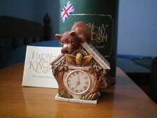 Harmony Kingdom Play Time Cat & Cuckoo Clock Bird Marble Resin Figurine Uk Made