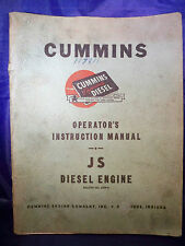 Cummins Operator's Instruction Manual JS Diesel Engine-1951