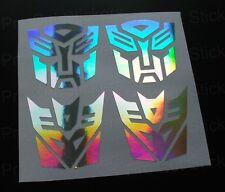 50 mm (5 Cm) Transformers Plata Holograma Cromo pegatinas Autobots Decepticons
