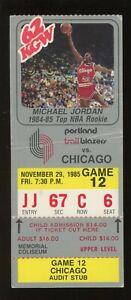 1984-85 NBA ROY Michael Jordan Photo Ticket Bulls vs Trail Blazers 11/29/85