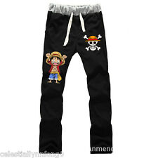 Anime One Piece Luffy Cotton Sweatpants Cosplay Costume Casual Pants Trousers
