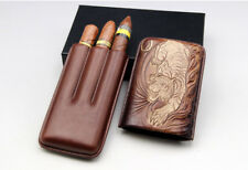 Cohiba Brown Leather Embossed Tiger 3 Tube Cigar Case Humidor Holder