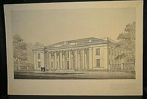 Old Master Pencil DRAWING Administrative Building Signed Original 1954 Wall Art