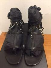 SAINT LAURENT Studded Leather Fringe Sandals Flats Size UK 6/EU 39