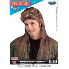 W206FN 80s Rock Mullet Bogan Redneck Long Brown Men Costume Wig
