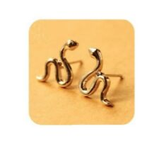 Pair Of Cute Snake Ear Cuff Stud Earrings Climber Rings Jewellery Silver ECF13