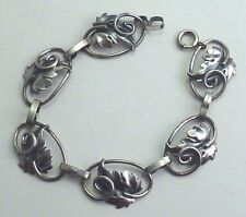Sterling Jewel Art Bracelet Vintage 925 Silver Jewelart Leaf Links 7½""