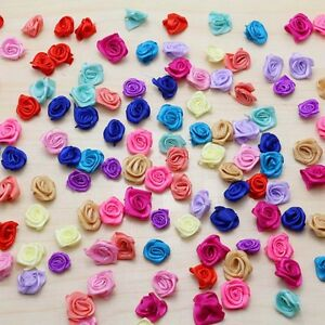 50-100PCS NEW Mini Satin Ribbon Rose Flower Applique Patch DIY Craft mix colors
