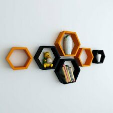 Wooden wall shelves of hexagon shape set of 6 for Living Room and Bedroom.