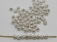 500 Silver Plated Tiny Round Filigree Spacer Beads 4mm Jewelry Findings