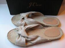 NIB - J Crew Knotted Canvas Espadrille Slides Sandals, Metallic Gold - Size 7