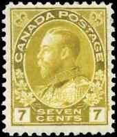Canada #113 mint F-VF OG H 1916 King George V 7c yellow ochre Admiral CV$55.00