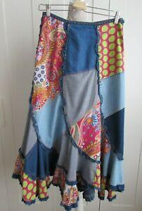 Rene Derhy VTG Patchwork / Denim Maxi Skirt 100% Cotton Size S Waist 29 inches