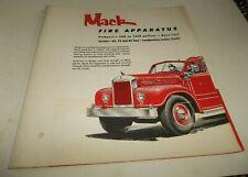Vtg Mack Truck Fire Truck Apparatus Illustrated Foldout Brochure