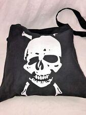 New Unisex Small Black Cotton White Skull with Crossbones Design Crossbody Bag
