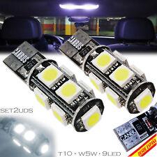 2x BOMBILLAS 9 LED SMD CANBUS SUPER BLANCO T10 W5W MATRICULA INTERIOR POSICION