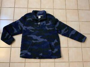 Pink Victoria's Secret Blue Camouflage Sherpa Quarter Zip Pullover Sz M NWOT