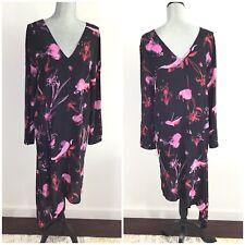 $160 TOPSHOP Size 6 Black Silk Floral Asymmetrical Hem Shift Dress Long Sleeves