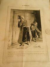 Caricature 1840 - Les Débardeurs Caporal on gêle dans votre satané Violon