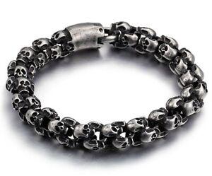 BLACKSTATIC Premium Men's Stainless Steel Skull Link Bracelet w/ Metal Gift Box