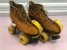 Vintage Rare Roller Skates Dominion Canada Leather Brown Suede Roller Derby