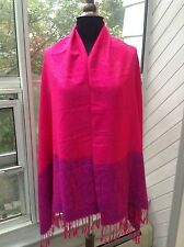 100% Cashmere New Shawl / Wrap - Raspberry Pink & Purple Paisley Trim