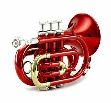 **GREAT GIFT**Band Approved Red/Silver Pocket Trumpet HOLIDAY SPECIAL
