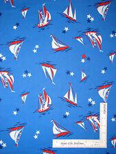 Nautical Sailboat Stars Blue Cotton Fabric Anna Griffin CF2705-1 Seafarer - Yard