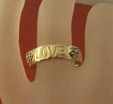 Beautiful 10k Solid Gold LOVE  Accents 2 Diamond Hearts  Lady's Band Ring Size 7