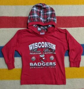 VTG 90s Lil Fan USA University of Wisconsin Badgers Hooded Plaid Shirt 4