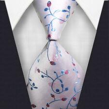 1x Classic Striped WOVEN JACQUARD Silk Men's Suits Tie Necktie Light Pink M091