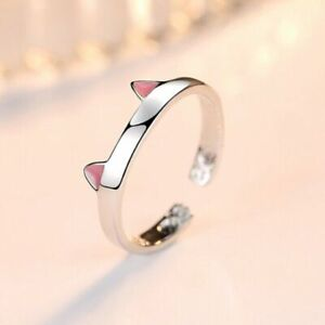 Womens Girls Cute Cat Adjustable Ring 925 Sterling Silver Jewellery Gift
