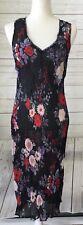 AMPERSAND AUSTRALIA Size 10 S Vintage Chiffon Rose Print Black Lace Maxi Dress