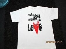 """stedman classic"" white beatles  t shirt size large with ""all you need is love"