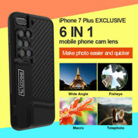 ☆6in1 Camera Len Macro+Telescope+Fisheye+ Wide Angle Phone Case For iPhone7 Plus