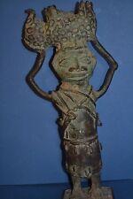 Rare Large Antique 19th Century African Benin Bronze Tribal Statue ,c 1890