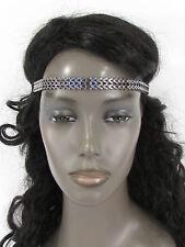 N. Women Elastic Band Hair Fashion Head Jewelry Gunmetal Pewter Metal Chain Link